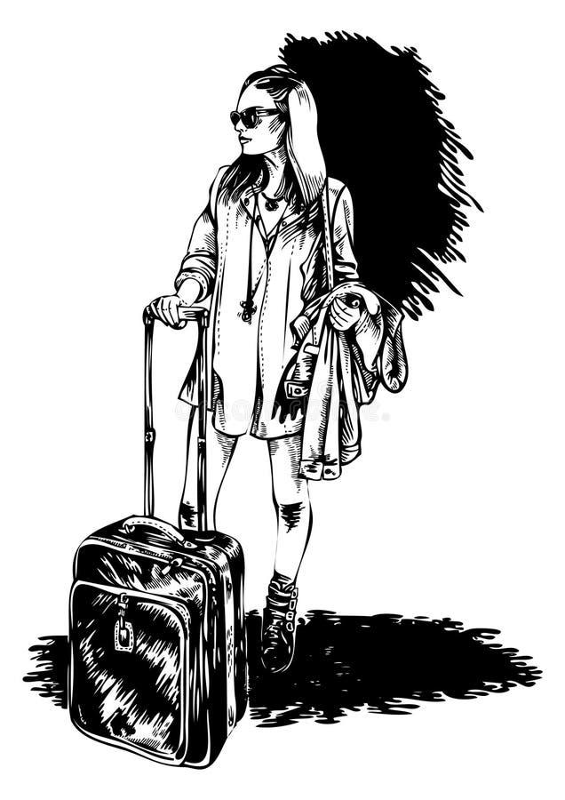 девушка идет детеныши путешествием иллюстрация штока