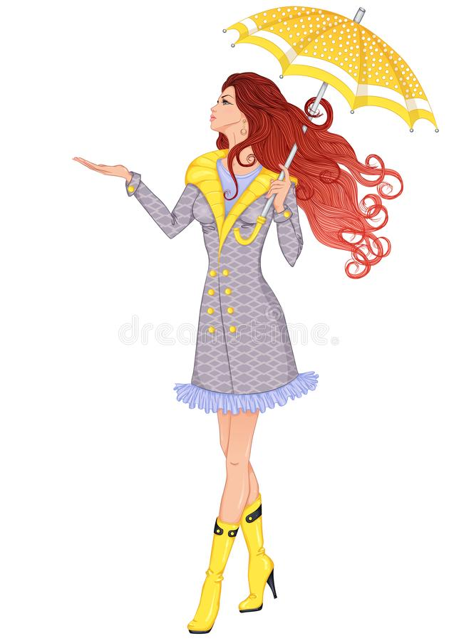 Девушка идя под зонтик иллюстрация штока