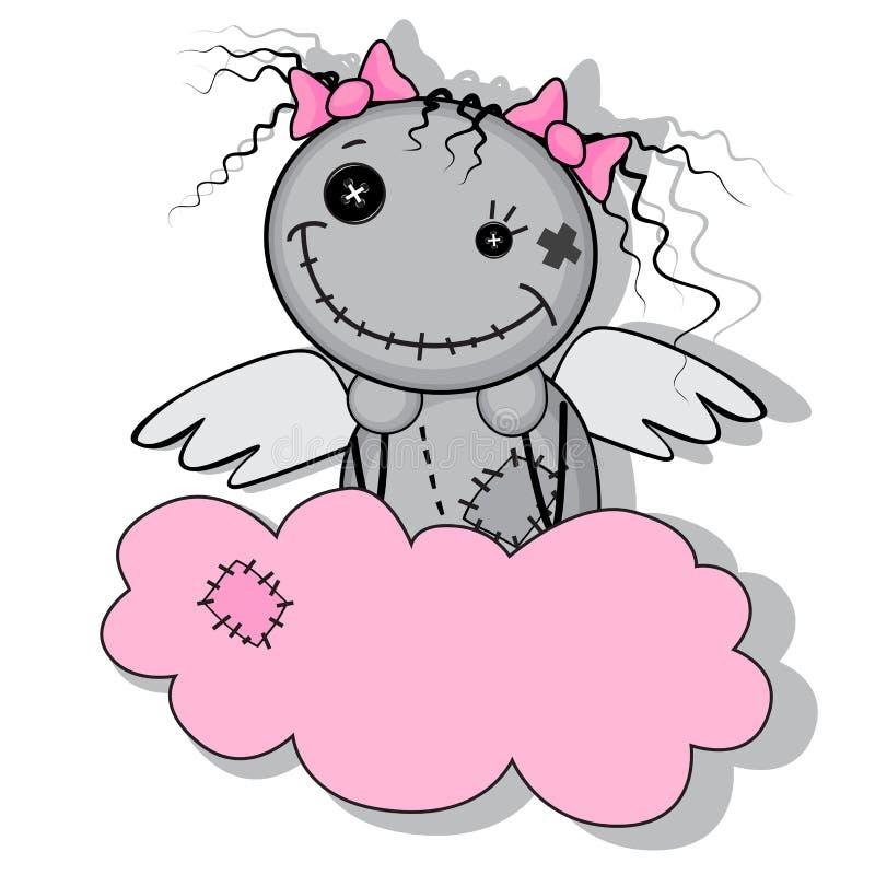 Девушка изверга с крылами на облаке иллюстрация вектора