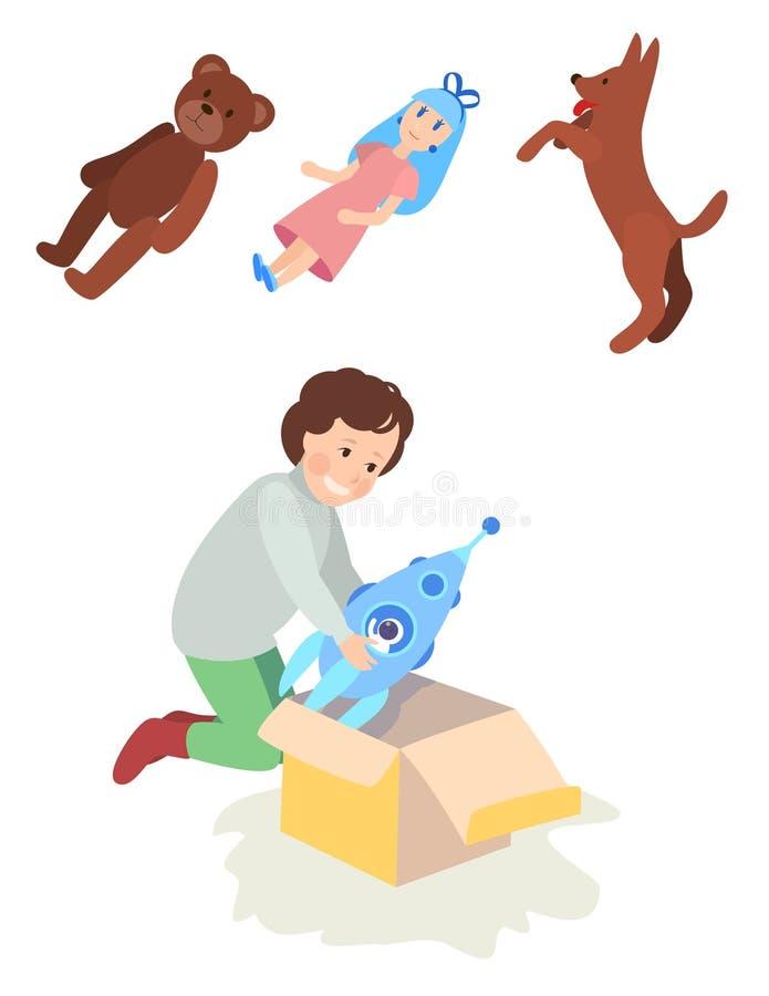 Девушка или мальчик ребенка раскрывают игрушку подарочной коробки, ракету, куклу, плюшевый медвежонка или pet собака Рождество, Н иллюстрация вектора