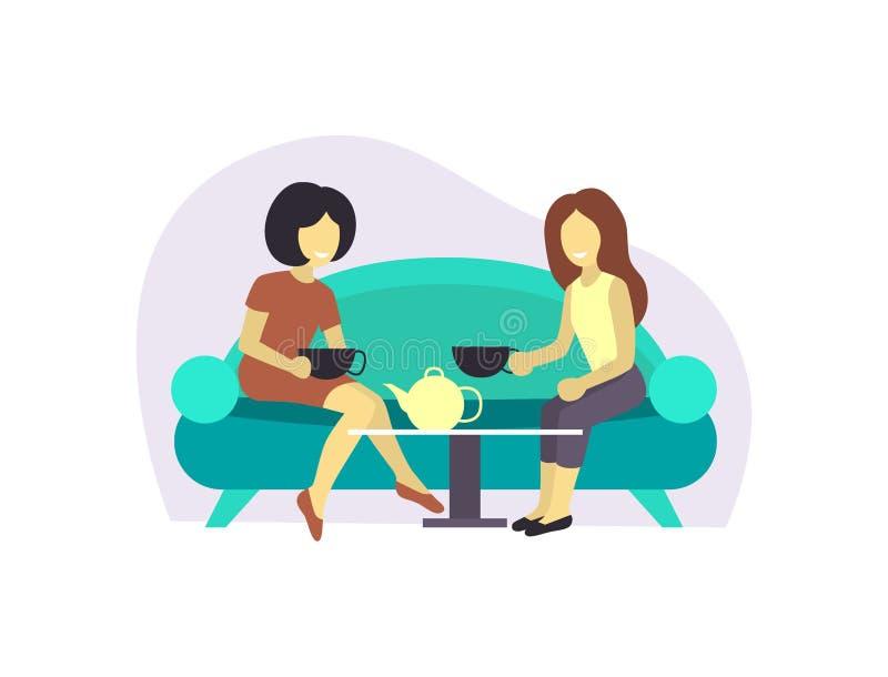 Девушка 2 или спаривает женского друга сидит на сплетне беседы кофе или чая напитка таблицы Девушка бизнес-леди дружелюбная бесплатная иллюстрация