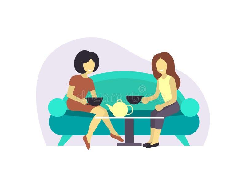 Девушка 2 или спаривает женского друга сидит на сплетне беседы кофе или чая напитка таблицы Девушка бизнес-леди дружелюбная иллюстрация вектора