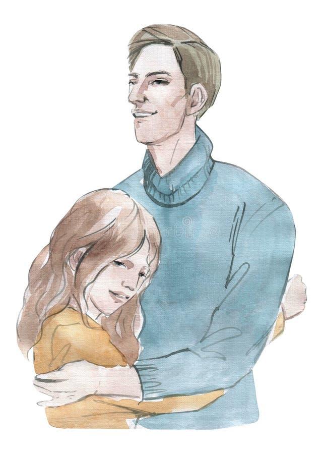 Девушка иллюстрации акварели обнимая с объектом парня красочным изол бесплатная иллюстрация