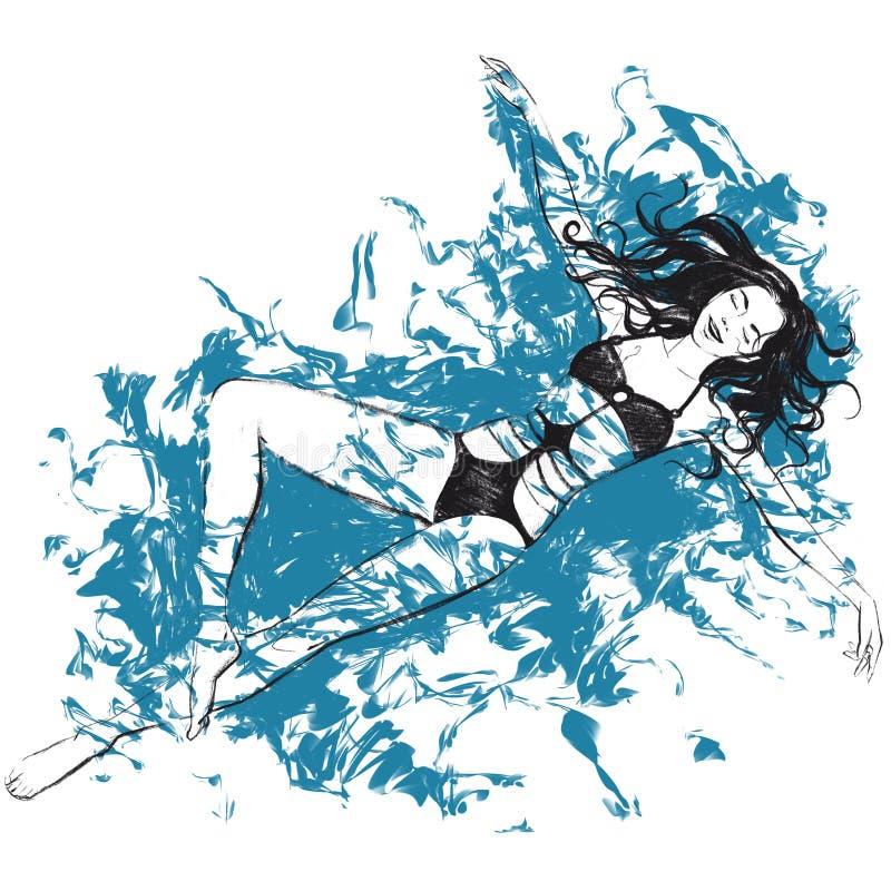 Девушка иллюстрации растра цифров плавает в воде в черном и голубом цвете изолированные объекты на белой предпосылке для рекламы иллюстрация штока