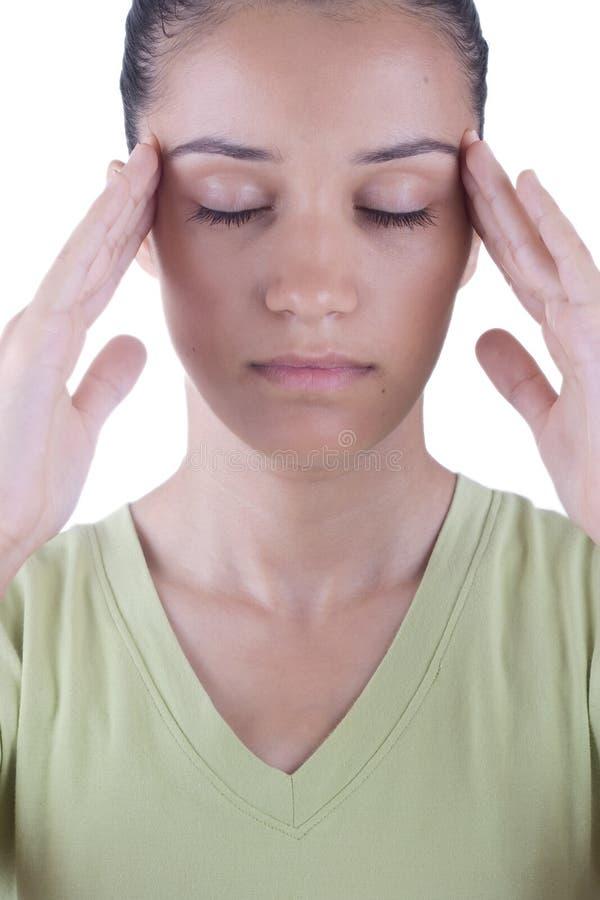 девушка имея головную боль стоковое фото rf