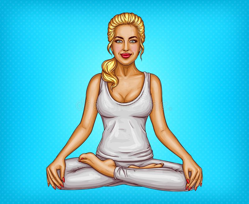 Девушка искусства шипучки вектора усмехаясь сидя в представлении лотоса иллюстрация вектора