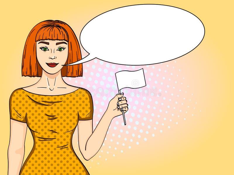 Девушка искусства шипучки красная с волосами с флагом парламентера Женщина покинула ее имитацию стиля положения шуточную Пузырь т иллюстрация штока