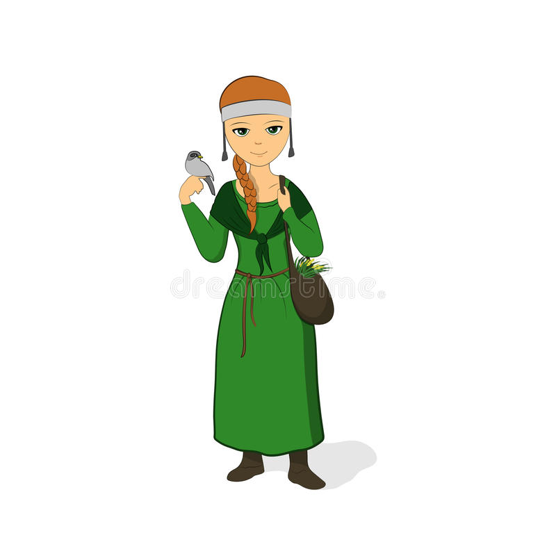 Девушка исцелитель в зеленом платье Herbalist с сумкой Духовное лицо с птицей на ее руке иллюстрация вектора
