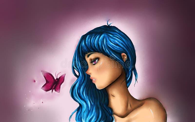 Девушка и бабочка стоковое фото rf