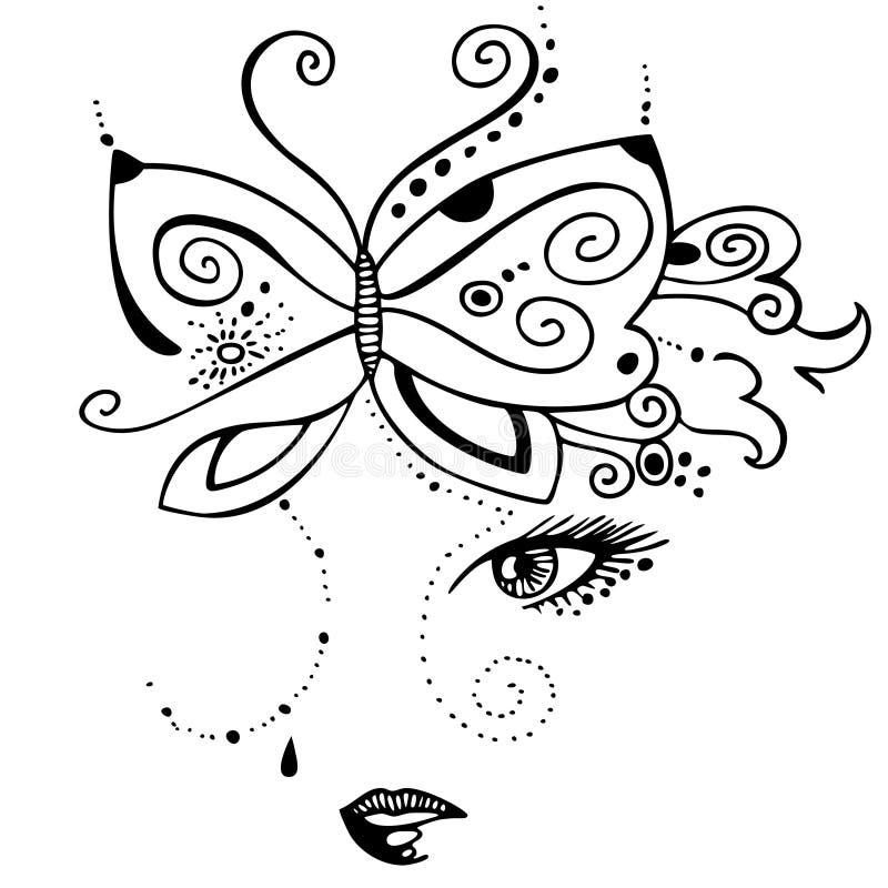 Девушка и бабочка бесплатная иллюстрация