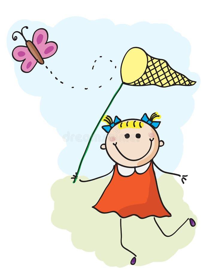 Девушка и бабочка иллюстрация вектора