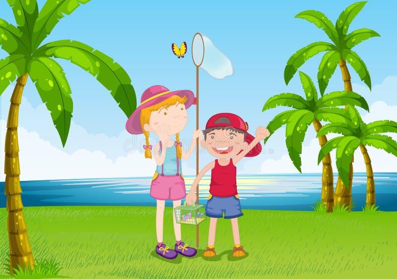 Девушка и бабочки мальчика заразительные около речного берега бесплатная иллюстрация
