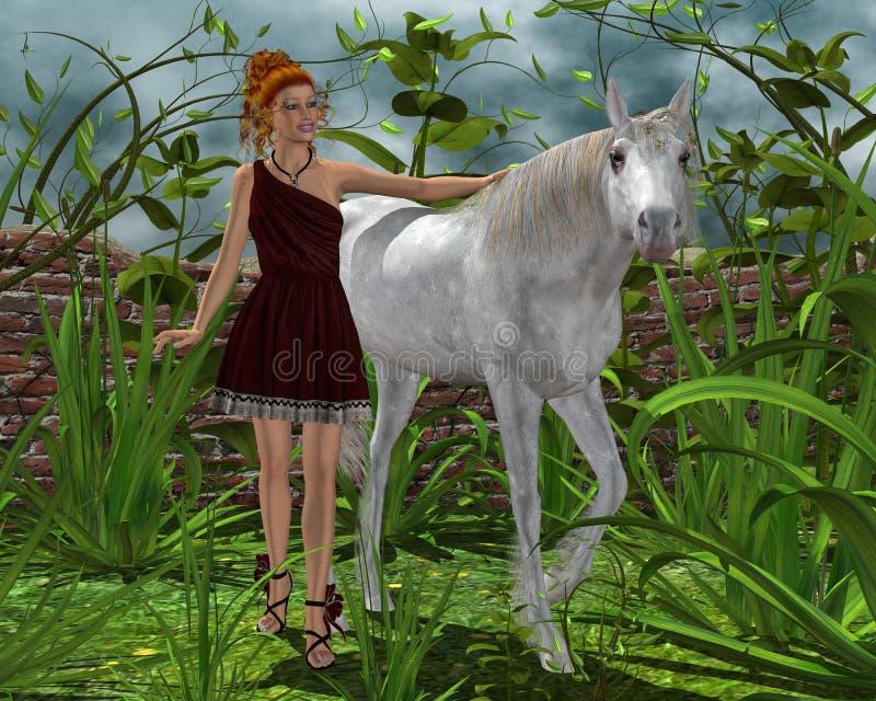 Девушка и белая лошадь стоковая фотография