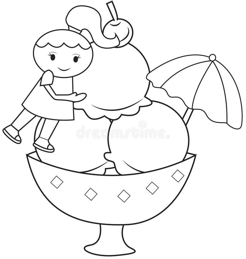 Девушка и большая страница расцветки мороженого бесплатная иллюстрация