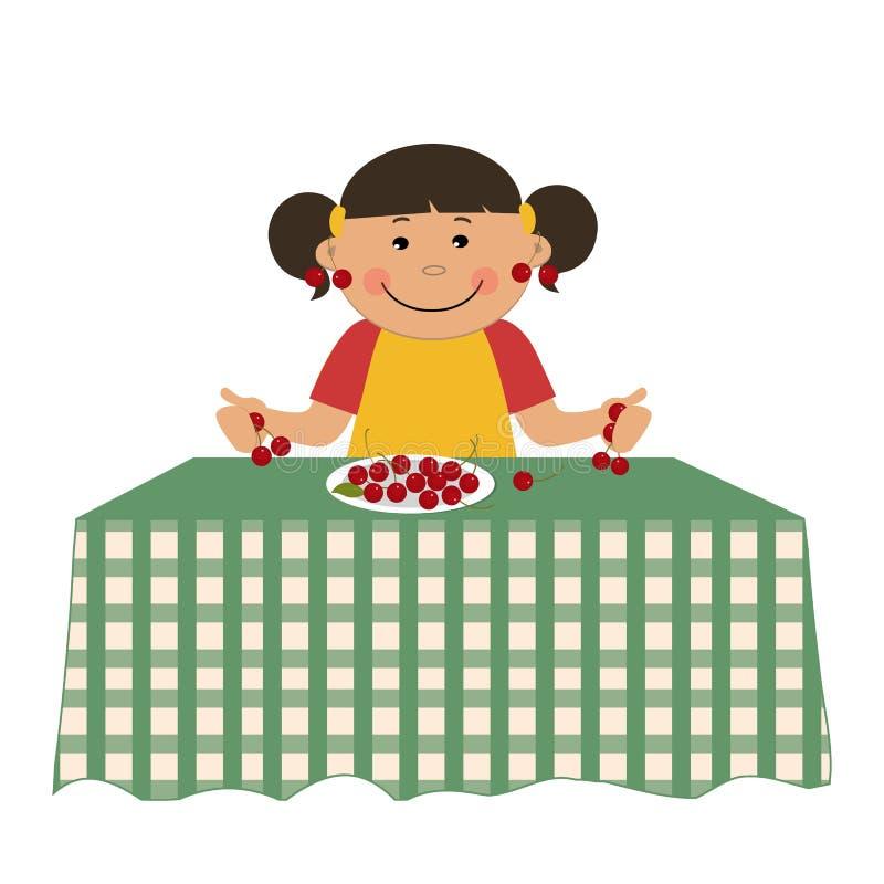 Девушка и вишни Милая маленькая девочка сидит на таблице и держит ягоды бесплатная иллюстрация
