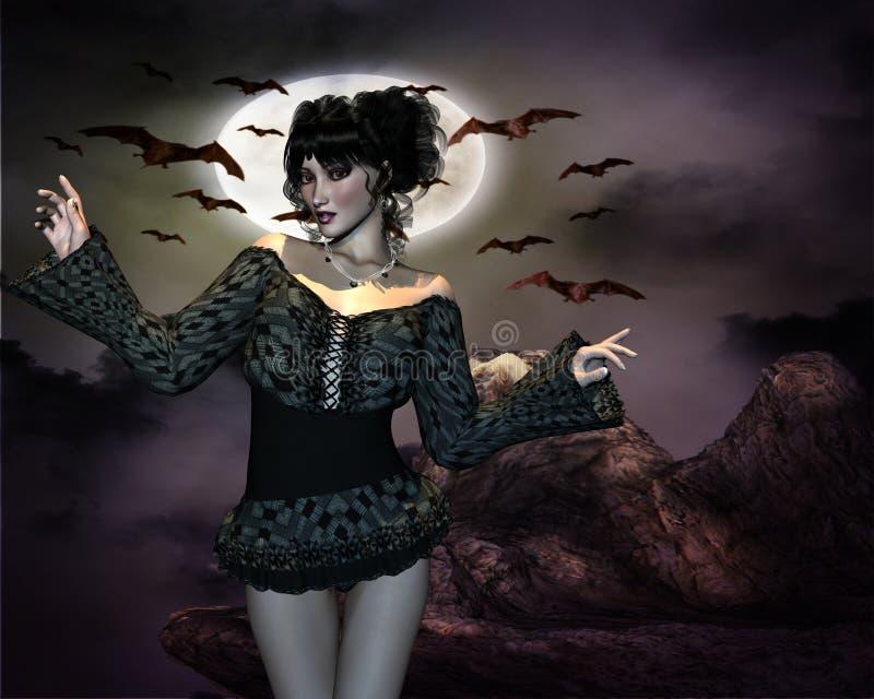 Девушка и летучие мыши ночи стоковые фотографии rf