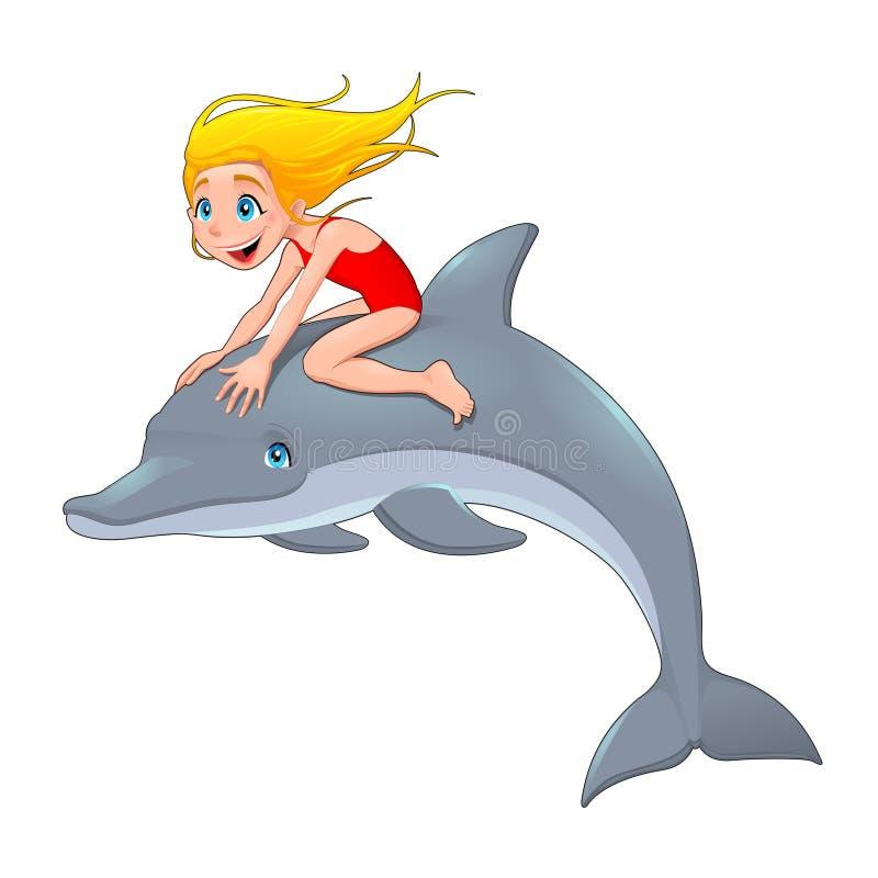 Девушка и дельфин. иллюстрация штока