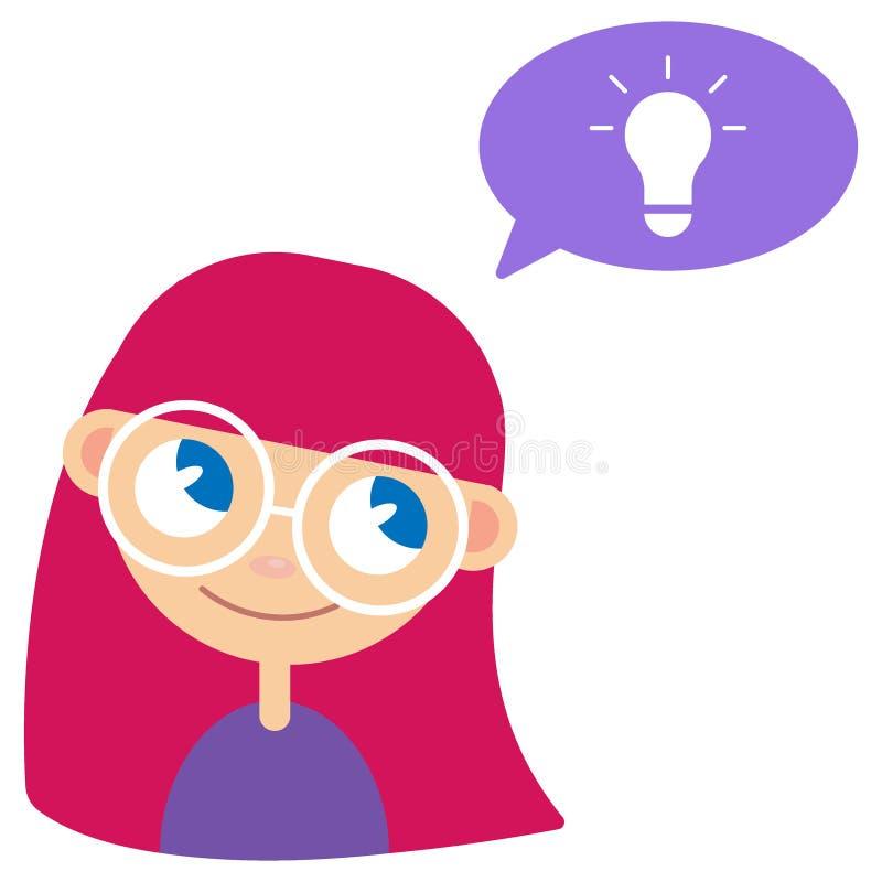Девушка и идея Batan иллюстрация вектора