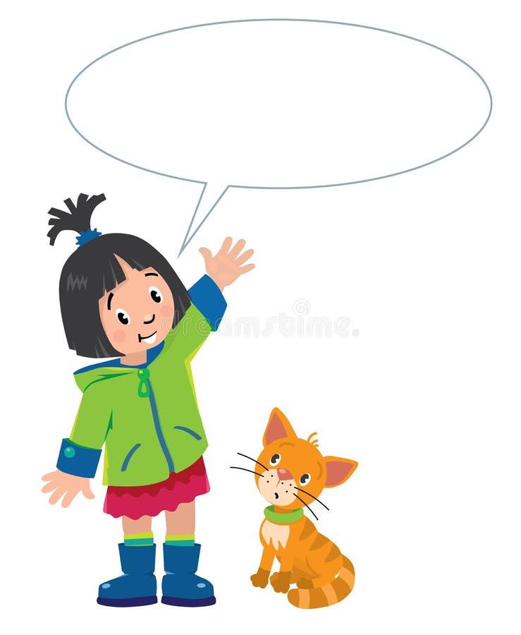 Девушка и котенок с воздушным шаром для текста иллюстрация вектора