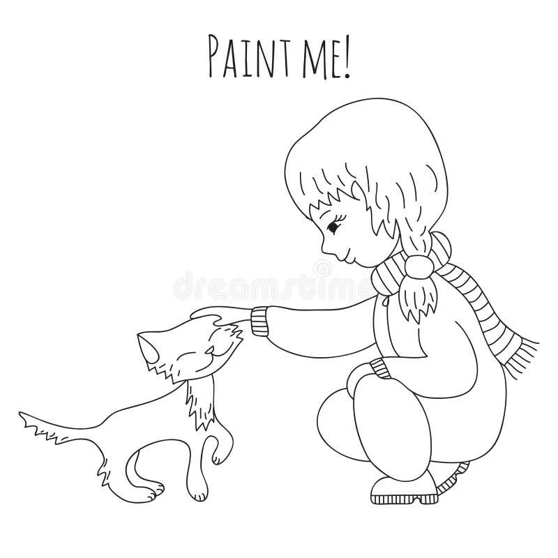 Девушка и кот расцветки иллюстрация вектора