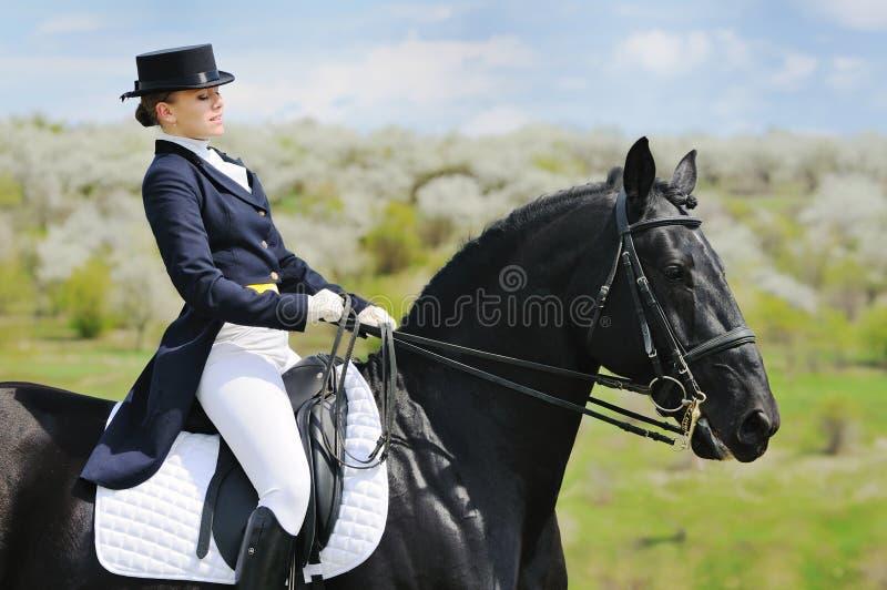 Девушка и лошадь dressage стоковая фотография
