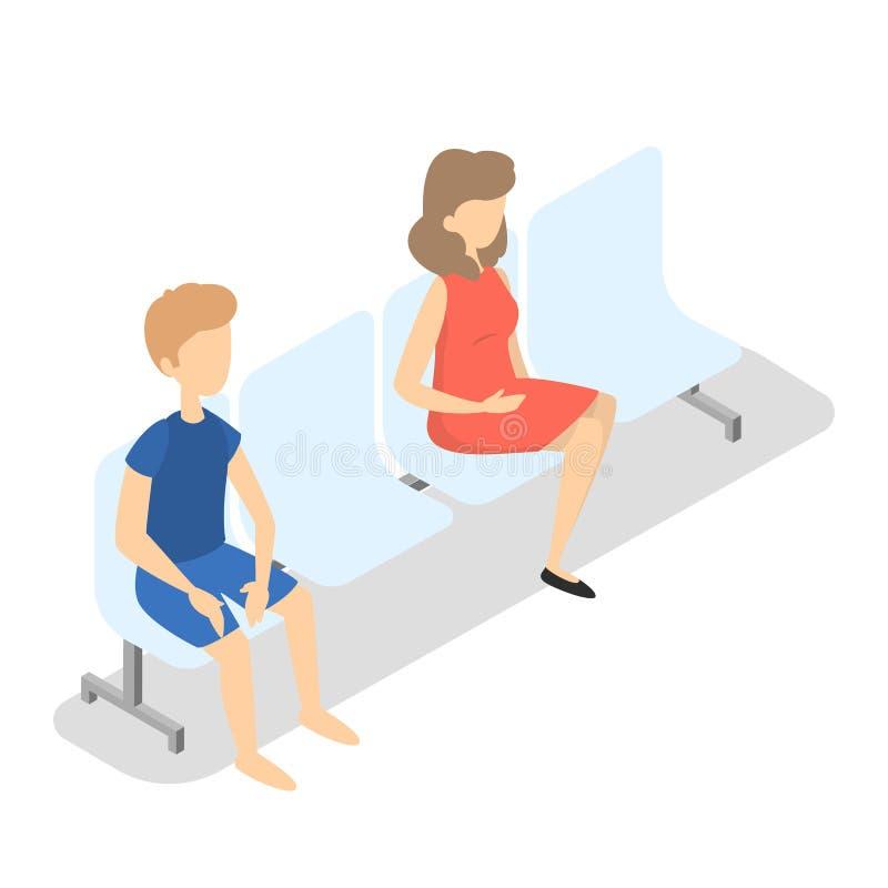 Девушка и мальчик сидя на стуле бесплатная иллюстрация