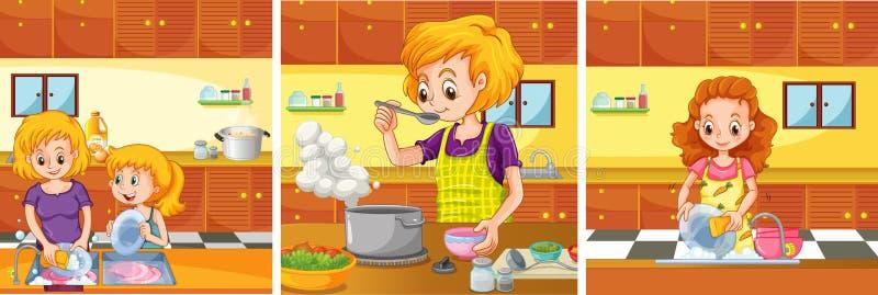 Девушка и мама делая деятельность в кухне бесплатная иллюстрация