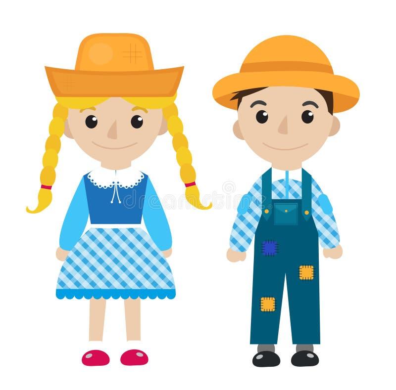 Девушка и мальчик Festa Junina в традиционном праздничном значке плоском, стиле костюма шаржа белизна изолированная предпосылкой  иллюстрация вектора