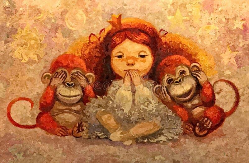 Девушка и обезьяны Портрет Крася влажная акварель на бумаге Наивнонатуралистическое искусство Акварель чертежа на бумаге иллюстрация вектора