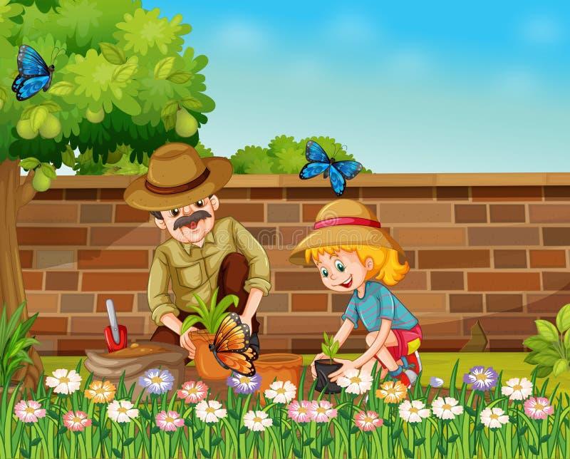 Девушка и папа засаживая деревья в саде иллюстрация штока