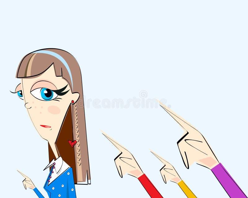 Девушка и руки с указывать пальцы позади изолированные на свете - голубой предпосылке Концепция соответствия, dictature, представ иллюстрация вектора