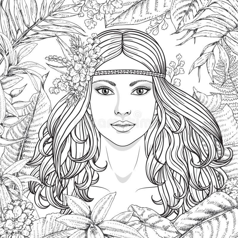 Девушка и тропические заводы иллюстрация вектора