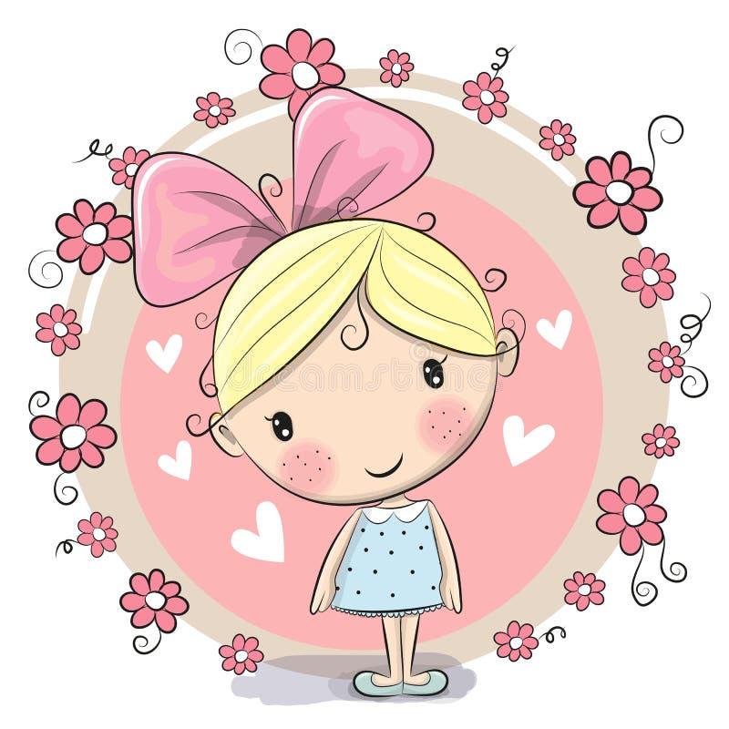 Девушка и цветки иллюстрация вектора