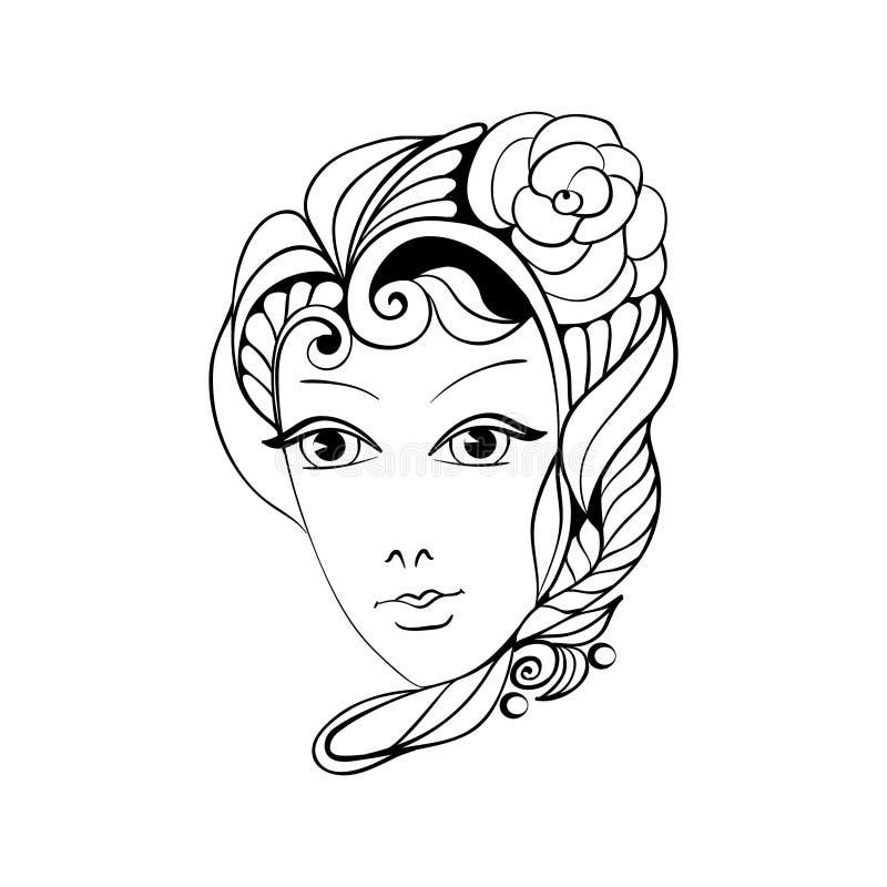 Девушка и цветок фантазии стоковое изображение rf