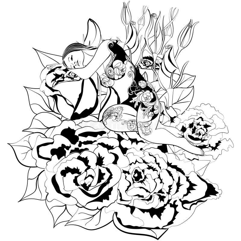 Девушка и цветок фантазии стоковая фотография rf