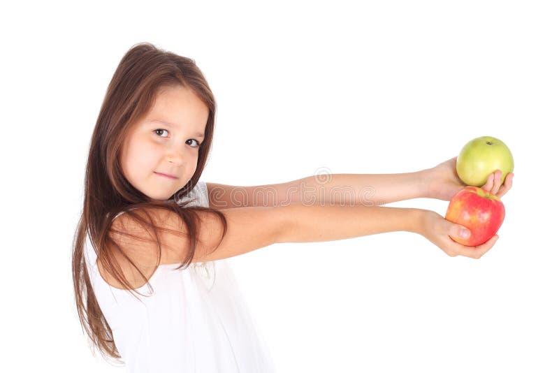 Девушка и яблоки стоковые фотографии rf