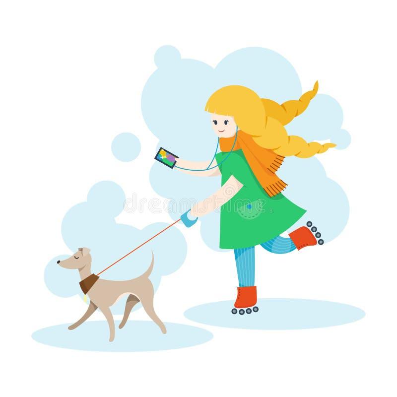 Девушка идя итальянская борзая и слушает музыка на мобильном телефоне иллюстрация вектора