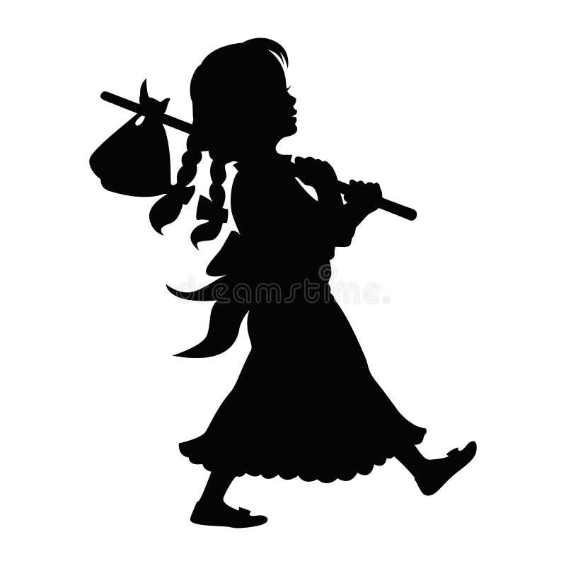 Девушка идя с ручкой Hobo бесплатная иллюстрация
