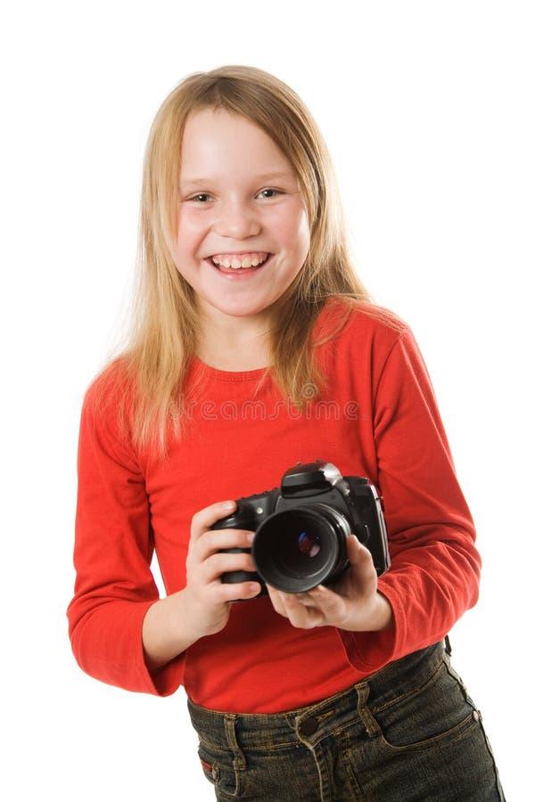 девушка камеры меньшее фото довольно стоковая фотография