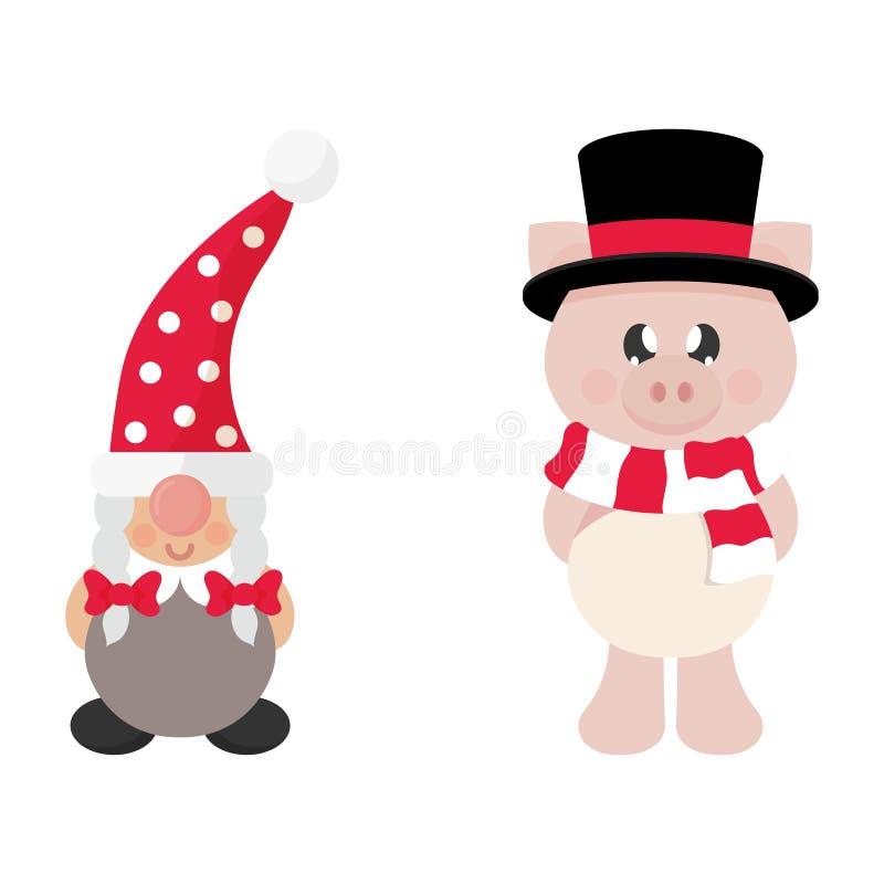 Девушка карлика рождества мультфильма и свинья зимы с шарфом в шляпе и тексте рождества бесплатная иллюстрация