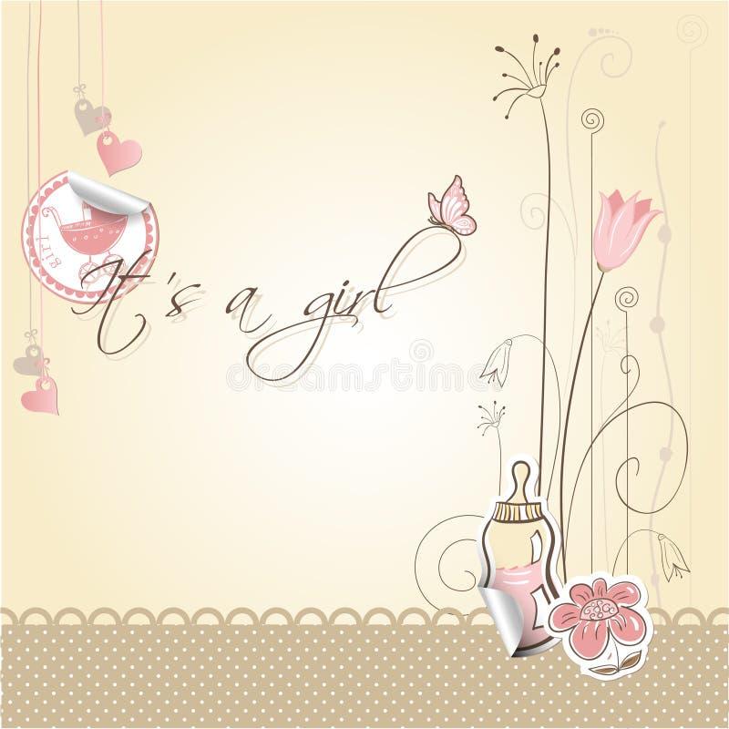 девушка карточки младенца объявления иллюстрация вектора