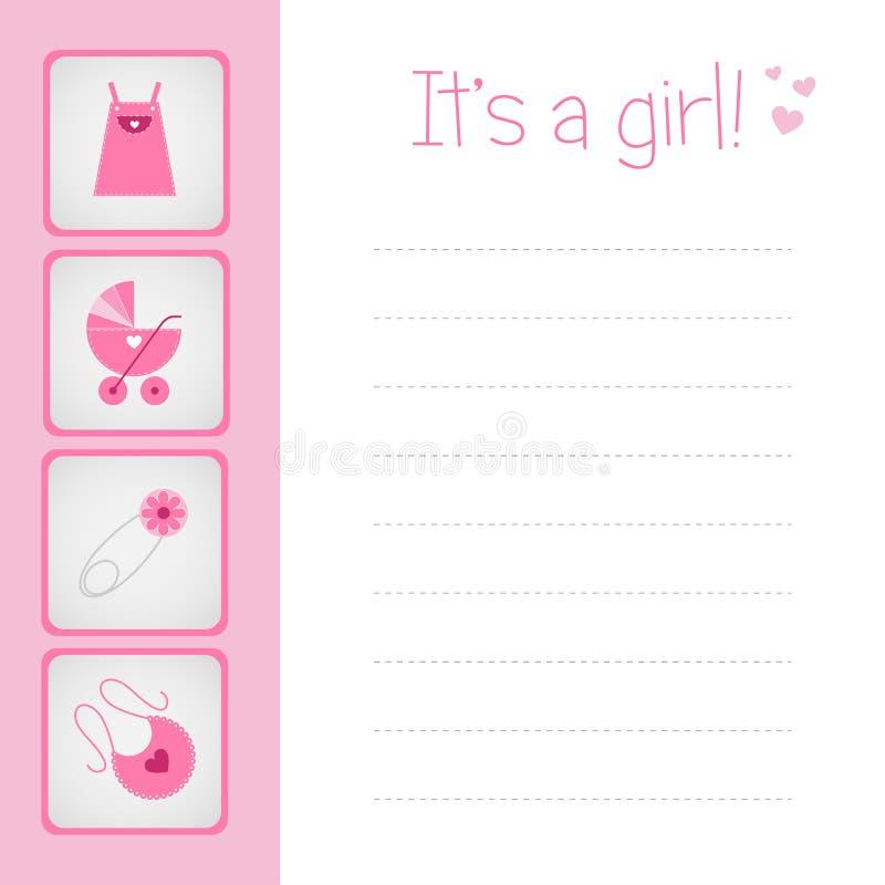 девушка карточки младенца прибытия бесплатная иллюстрация
