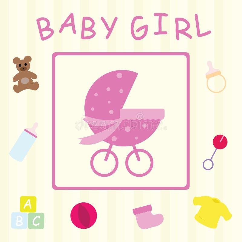 девушка карточки младенца иллюстрация вектора