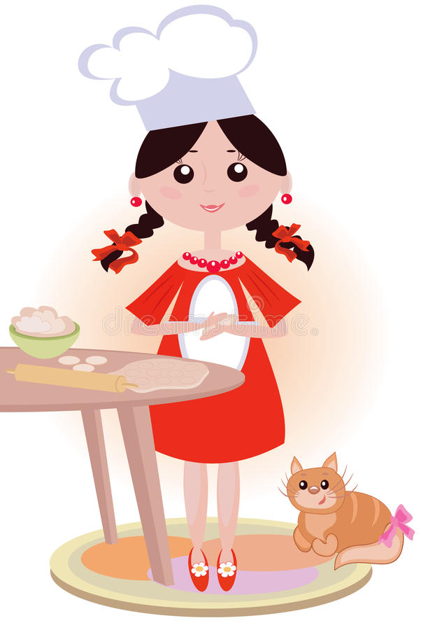 девушка кашевара иллюстрация штока
