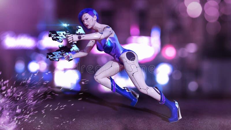 Девушка киборга подготовила при оружи скача, женская стрельба робота сражения, женщина на улице города ночи, 3D андроида научной  иллюстрация штока