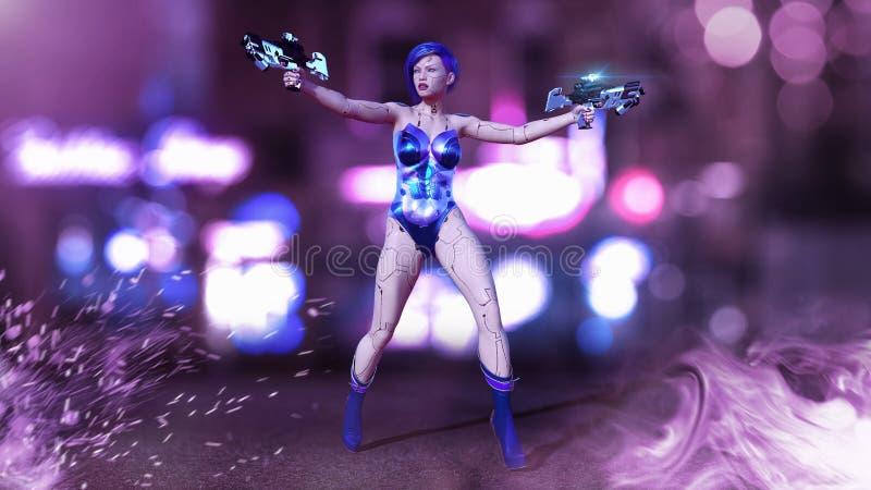 Девушка киборга подготовила с оружиями, женскими оружи стрельбы робота сражения, женщиной в улице города ночи, 3D андроида научно иллюстрация вектора