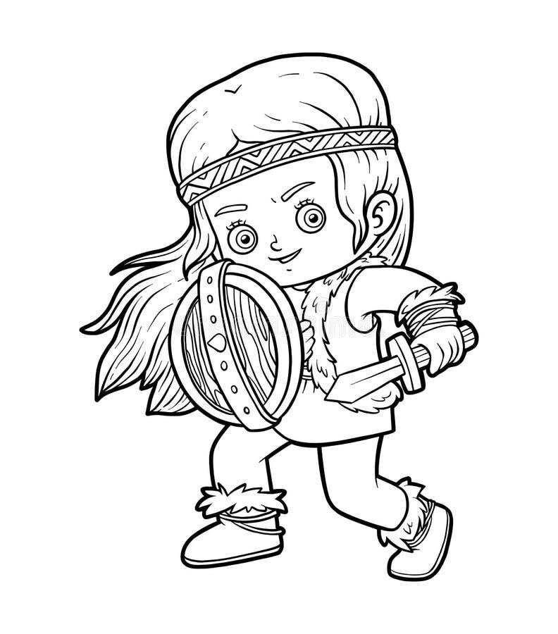 Devushka Knizhka Raskraski Vikinga S Ekranom I Shpaga Illyustraciya Vektora Illyustracii Naschityvayushej Ekranom Raskraski 152164514