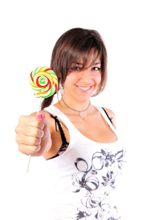девушка конфеты стоковая фотография rf