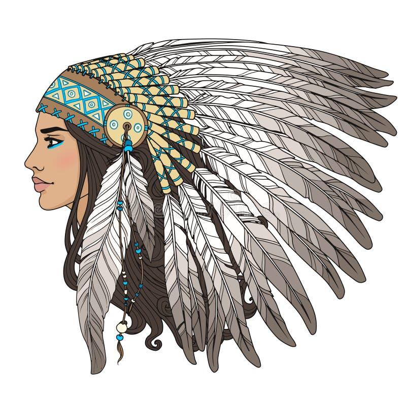 Девушка коренного американца иллюстрация вектора