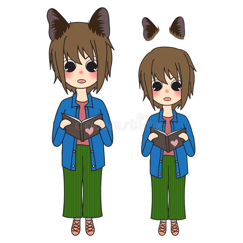 Девушка коротких волос с книгой чтения ушей кота также вектор иллюстрации притяжки corel иллюстрация вектора